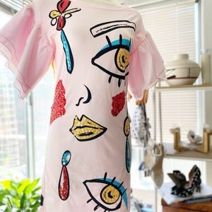 Pink Graphic Dress Organza Balloon Sleeves